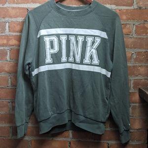 PINK green Crewneck Sweatshirt with pockets XS